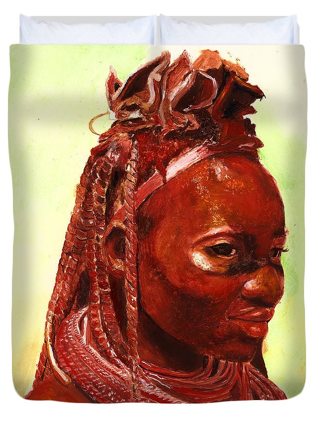 People Portrait Duvet Cover featuring the painting African Beauty by Portraits By NC
