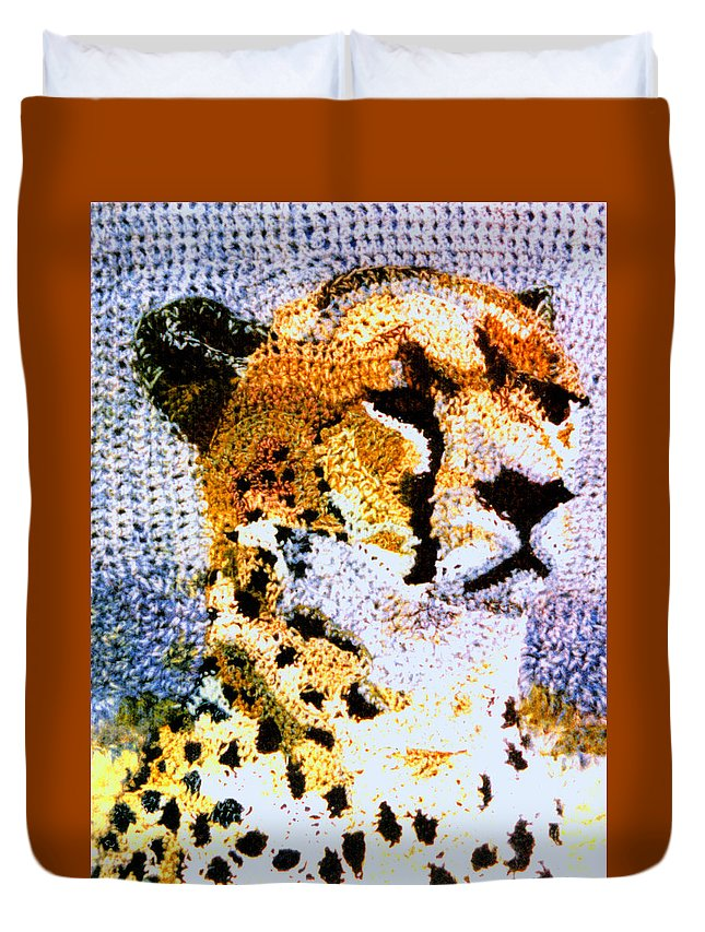 African Cheetah Duvet Cover featuring the tapestry - textile African Cheetah by Paul Lee