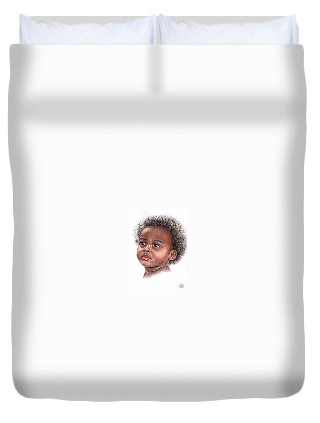 Child Duvet Cover featuring the drawing African Child by Nicole Zeug