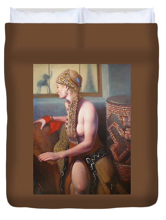 Realism Duvet Cover featuring the painting African Drum 1 by Donelli DiMaria