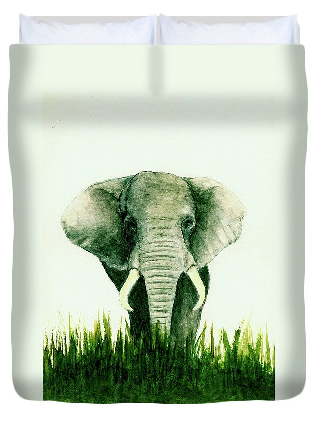Animals Duvet Cover featuring the painting African Elephant by Michael Vigliotti
