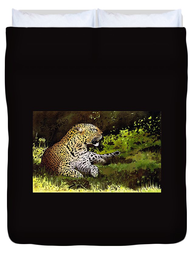 Leopard Duvet Cover featuring the painting African Leopard by Paul Dene Marlor