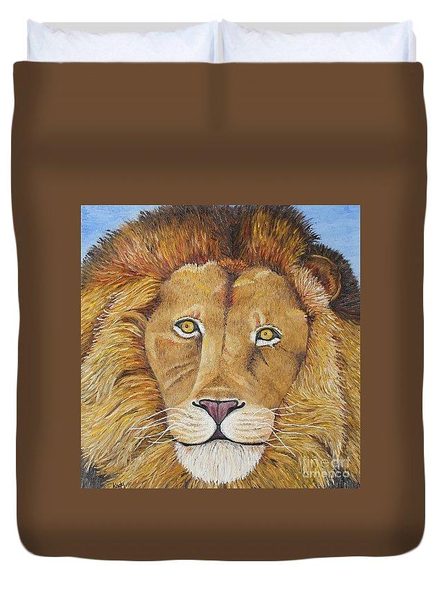 Lion Duvet Cover featuring the photograph African Lion by Karen Desrosiers