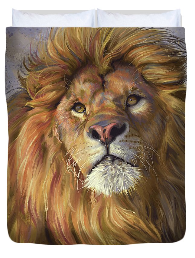 Lion Duvet Cover featuring the painting African Lion by Lucie Bilodeau