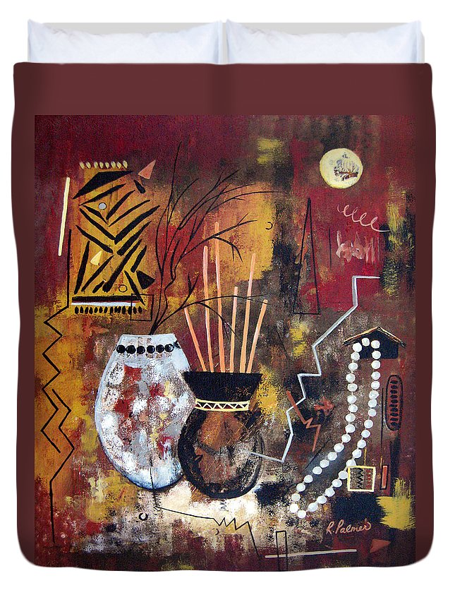 Abstract Duvet Cover featuring the painting African Perspective by Ruth Palmer