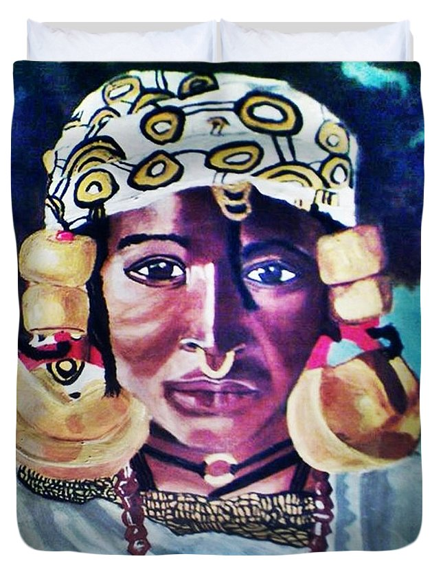 African Duvet Cover featuring the painting African Queen by Jo-Ann Hayden