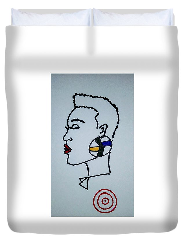 Profile Duvet Cover featuring the drawing African Queen by Peggy Theronier