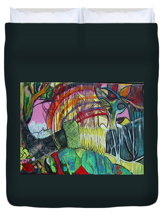 African Lady With Baby Duvet Cover featuring the painting African Roots by Peggy Blood