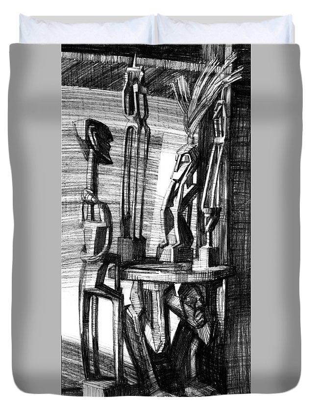Igor Sakurov Duvet Cover featuring the drawing African Statues by Igor Sakurov