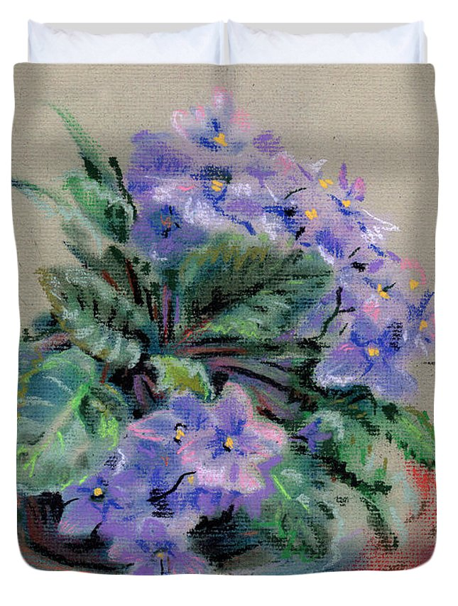 African Violets Duvet Cover featuring the drawing African Violet by Donald Maier