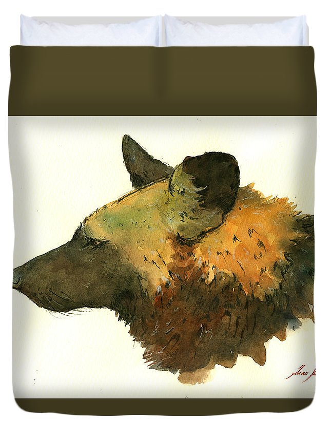 African Wild Dog Duvet Cover featuring the painting African Wild Dog by Juan Bosco
