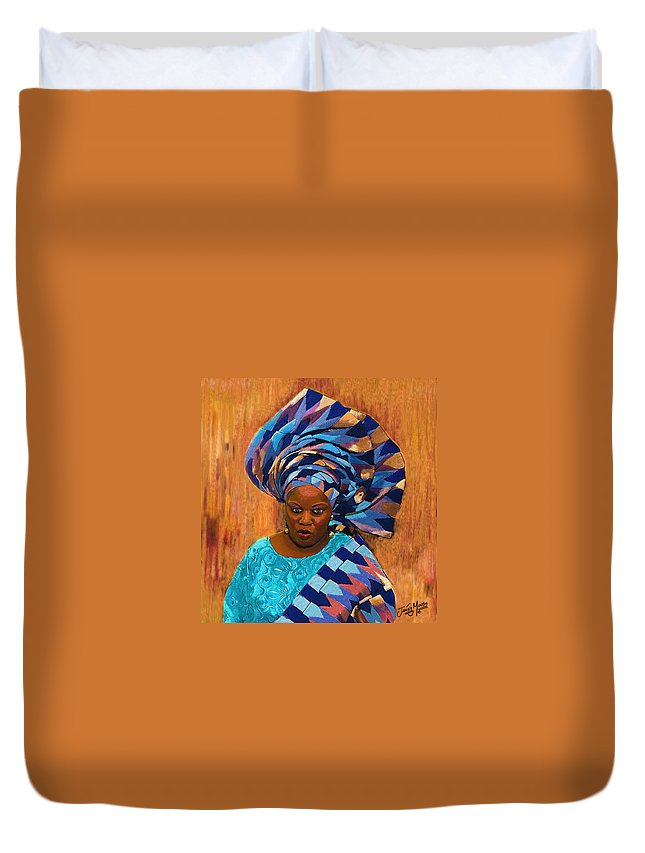 African Duvet Cover featuring the painting African Woman 5 by James Mingo
