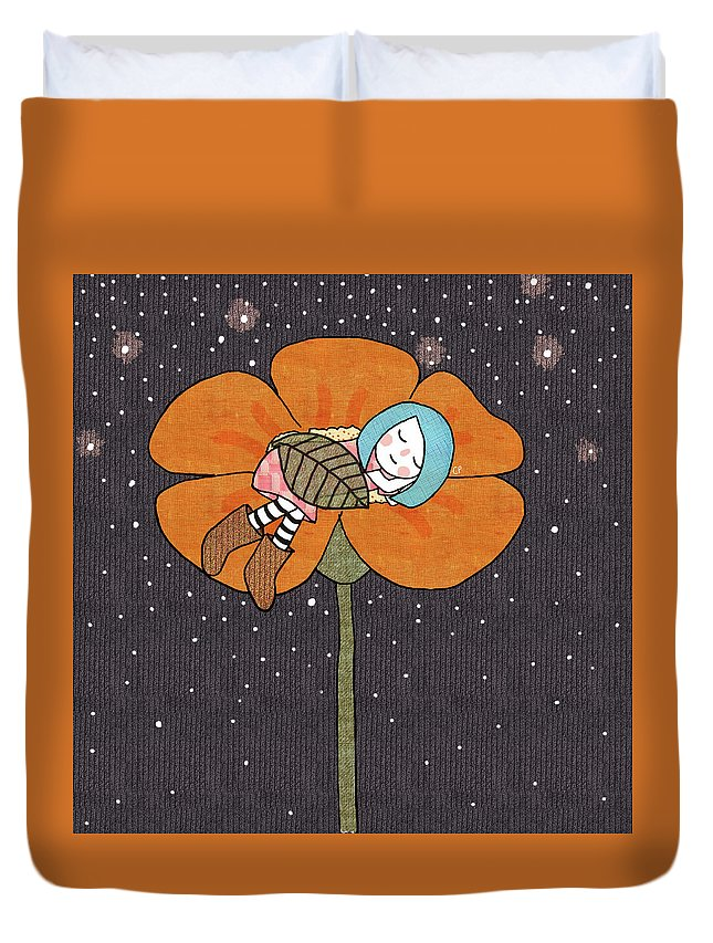 Flower Duvet Cover featuring the digital art After A Long Day by Carolina Parada