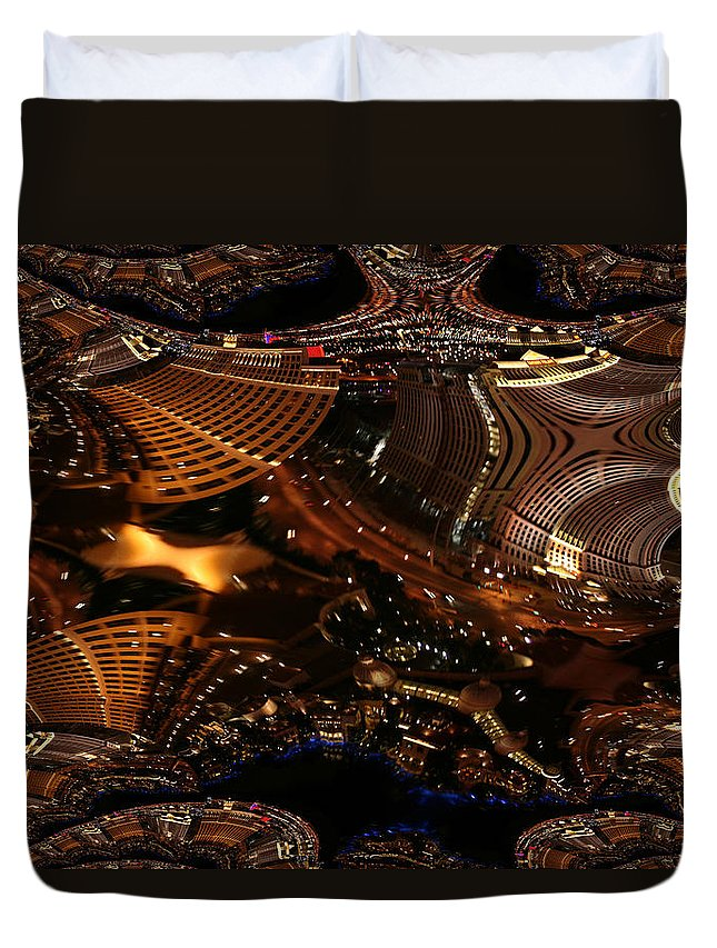 Las Vegas City The Strip Night Photograph Belagio Paris Caesars Palace Night Life Duvet Cover featuring the photograph After A Night In Vegas by Andrea Lawrence