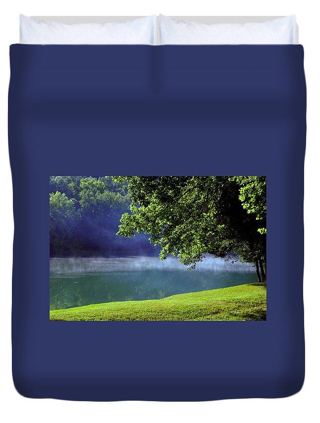 Fog Duvet Cover featuring the photograph After A Warm Summer Rain by Susanne Van Hulst