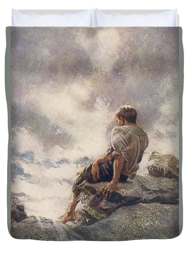 Robinson Duvet Cover featuring the drawing After Being Shipwrecked Robinson Crusoe by Vintage Design Pics