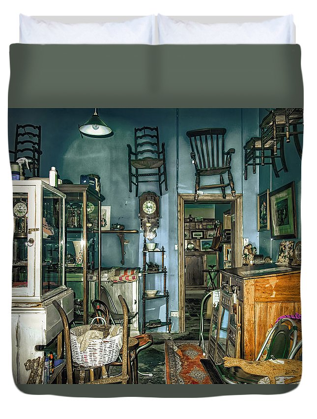 After Hours Antiques Duvet Cover featuring the photograph After Hours Antiques by Wayne Sherriff