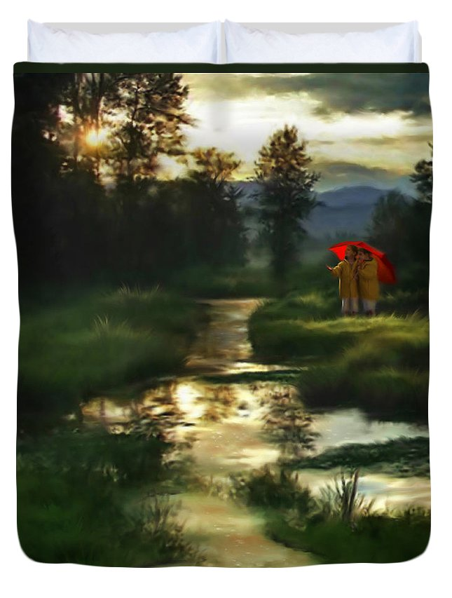 Boys Duvet Cover featuring the digital art After Morning Rain by Stephen Lucas