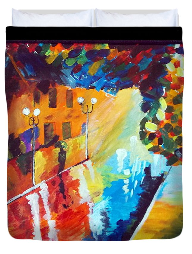 Original Duvet Cover featuring the painting After Rain by Saumya Saxena