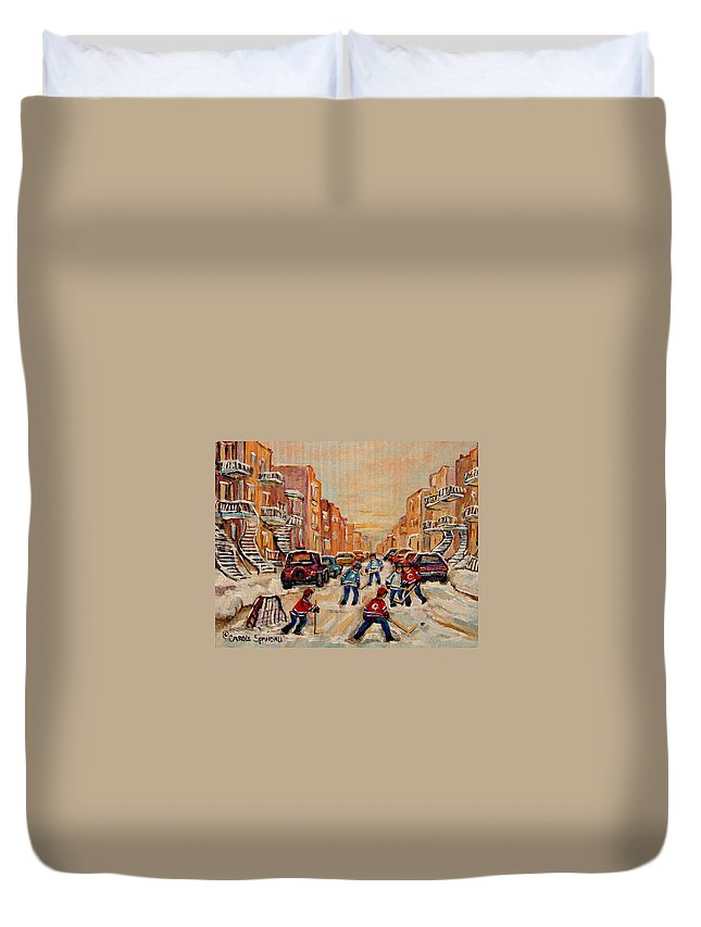 After School Hockey Game Duvet Cover featuring the painting After School Hockey Game by Carole Spandau