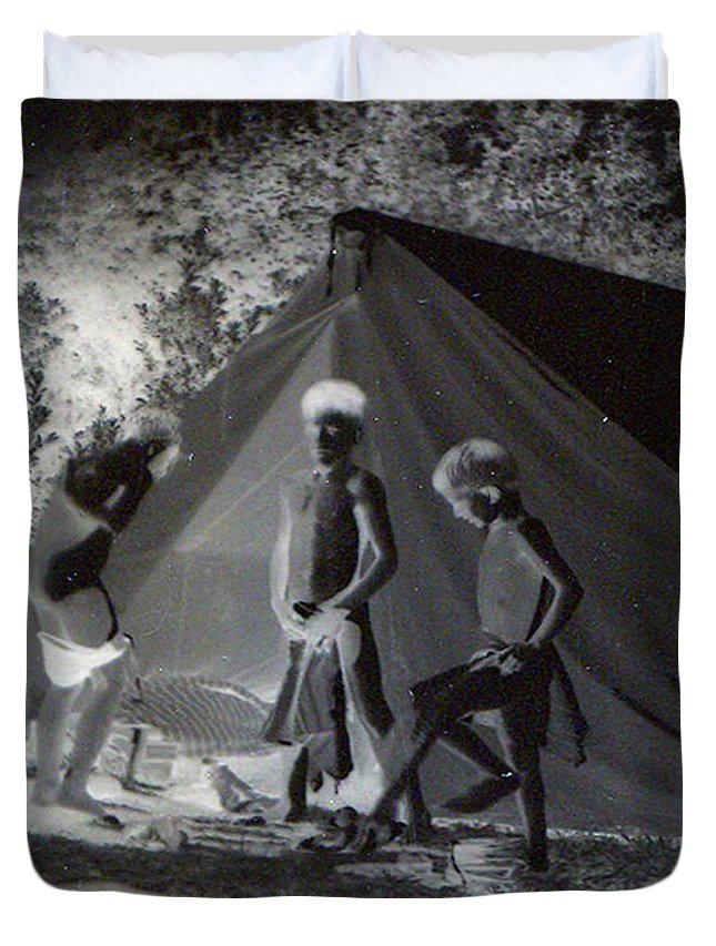 Boys Swimming Camping Tent Nature Clothes Classic 1950s Duvet Cover featuring the photograph After Swimming by Andrea Lawrence