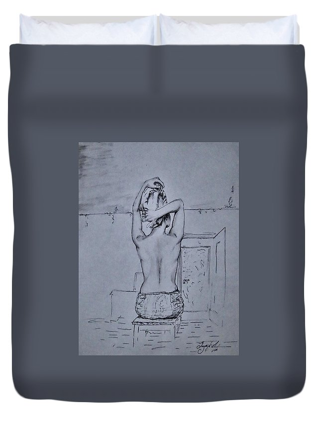 Portret Duvet Cover featuring the drawing After The Bath by Grigorita Martina