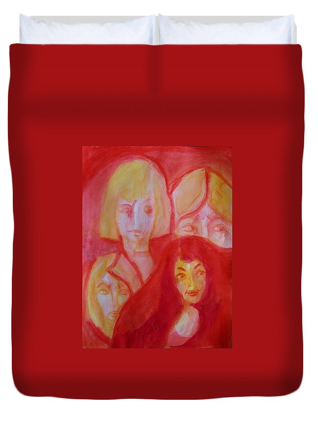 Abstract Duvet Cover featuring the painting After the Beauty Pageant by Judith Redman