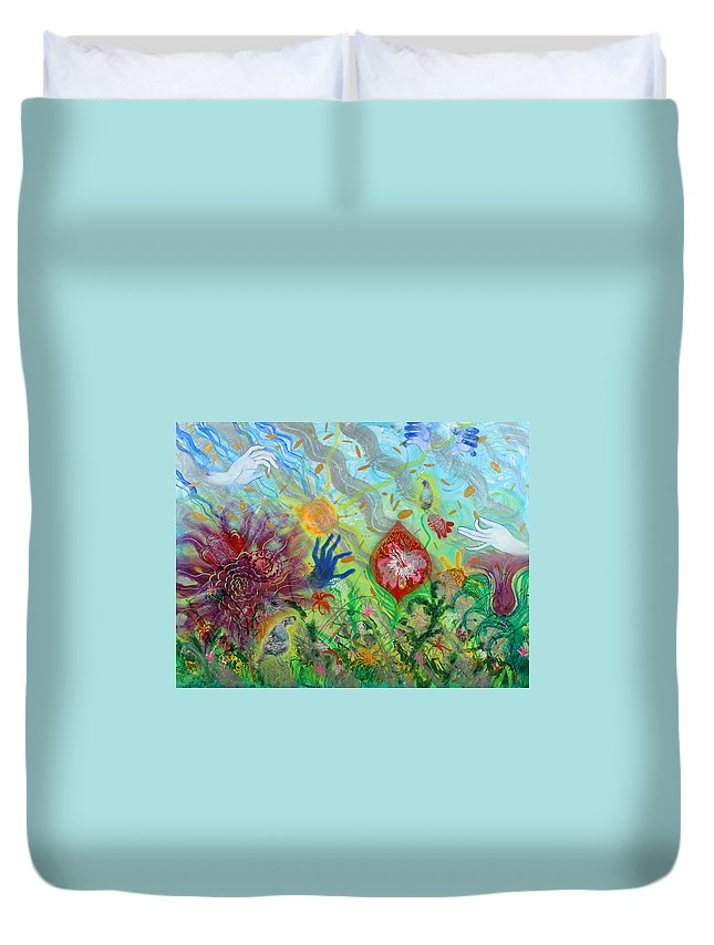 Biblical Duvet Cover featuring the painting After The Manna Manifestation Of The Quail by Anne Cameron Cutri