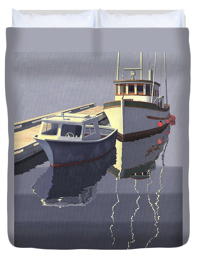 Boat Duvet Cover featuring the painting After The Rain by Gary Giacomelli
