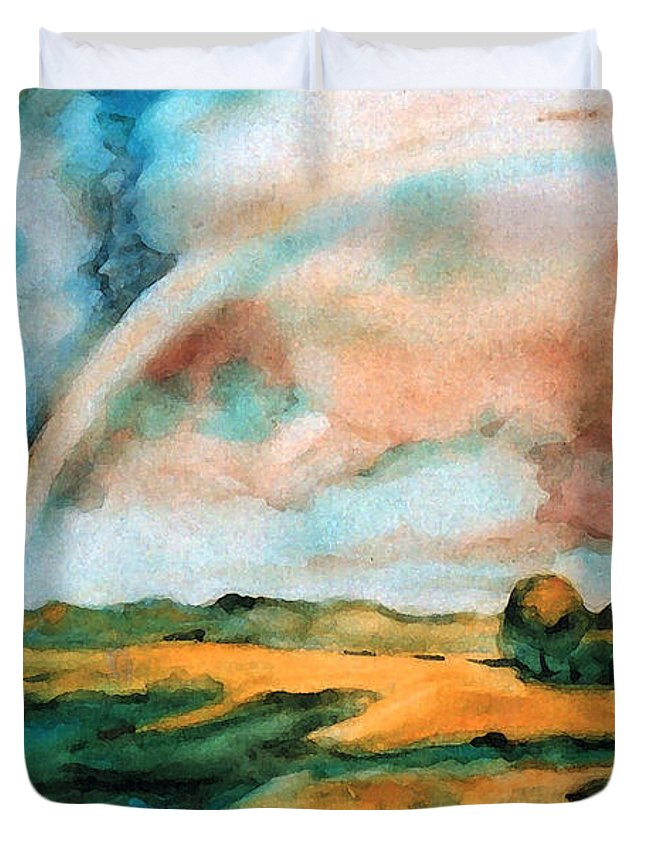 Landscape Duvet Cover featuring the painting After The Rain by Iliyan Bozhanov