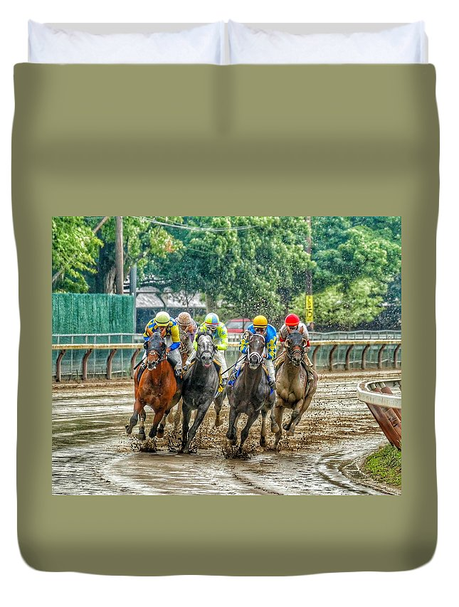 Race Horses Duvet Cover featuring the photograph After The Rain by Jeffrey PERKINS