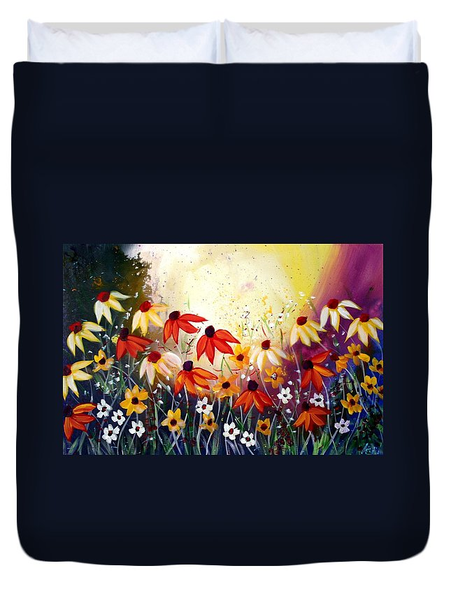 Flowers Duvet Cover featuring the painting After The Rain by Luiza Vizoli