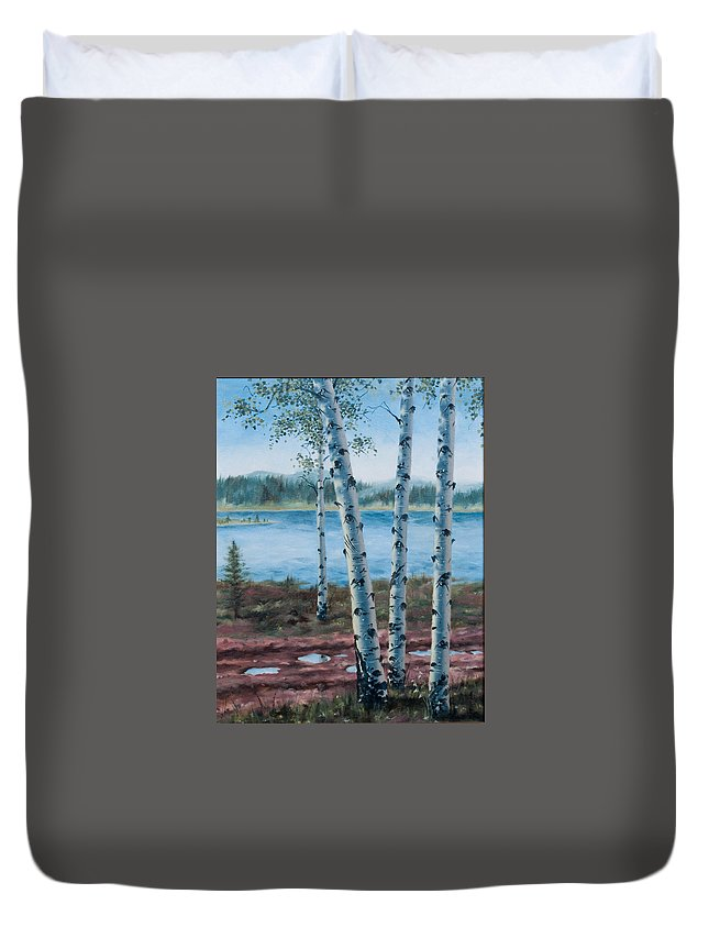 Aspen Trees Duvet Cover featuring the painting After The Rain by Pat Sebern