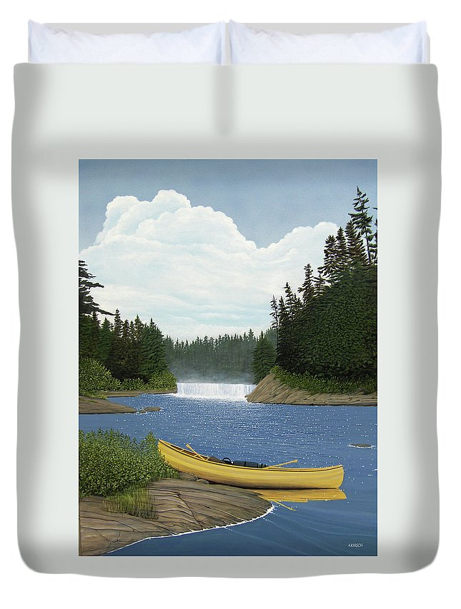 Landscapes Duvet Cover featuring the painting After The Rapids by Kenneth M Kirsch