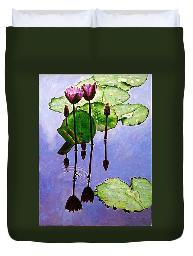 Rose Colored Water Lilies After A Morning Shower With Dark Reflections And Water Ripple. Duvet Cover featuring the painting After The Shower by John Lautermilch