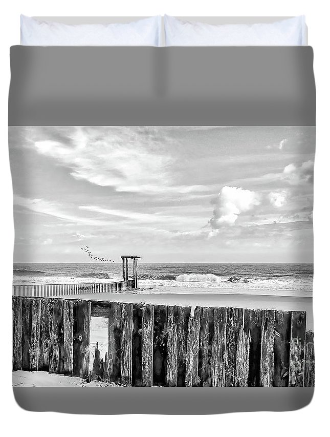 Black And White Duvet Cover featuring the photograph After The Storm Black And White by Kathy Baccari
