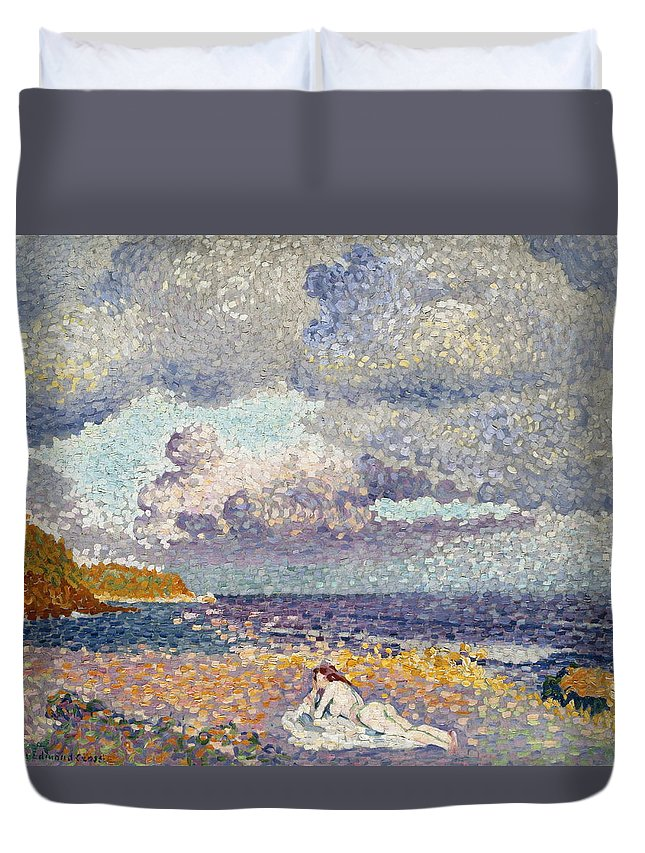 France Duvet Cover featuring the painting After The Storm The Bather by Henri Edmond Cross