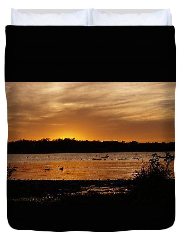 White Rock Lake; White Rock; Sunset; Golden; Shimmer; Beautiful; Molten Gold; Great Egret; African Swans; Dallas Texas; Sunset Bay Duvet Cover featuring the photograph After The Sun Went Below The Horizon by Kala King