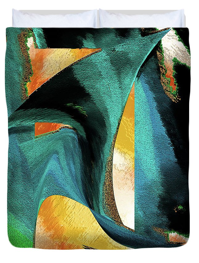 Abstract Duvet Cover featuring the mixed media After The War Abstract by Michele Avanti