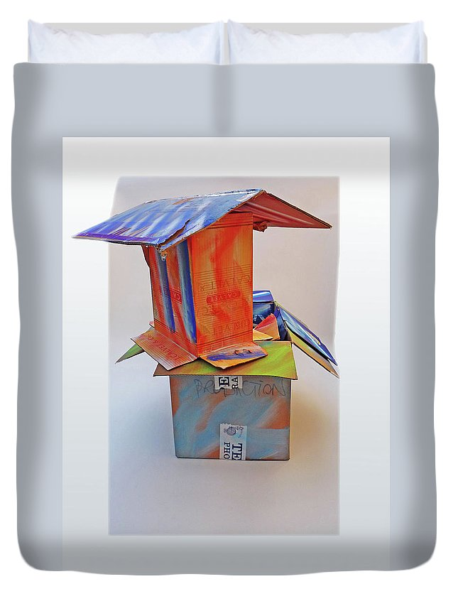 House Duvet Cover featuring the mixed media Aftermath 2 by Charles Stuart