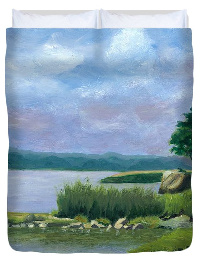Seascape Duvet Cover featuring the painting Afternoon At Pilgrim by Paula Emery