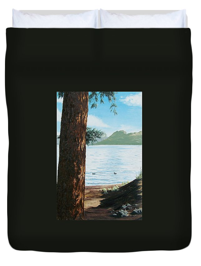 Tree Duvet Cover featuring the painting Afternoon Invitation by Bonnie Heather
