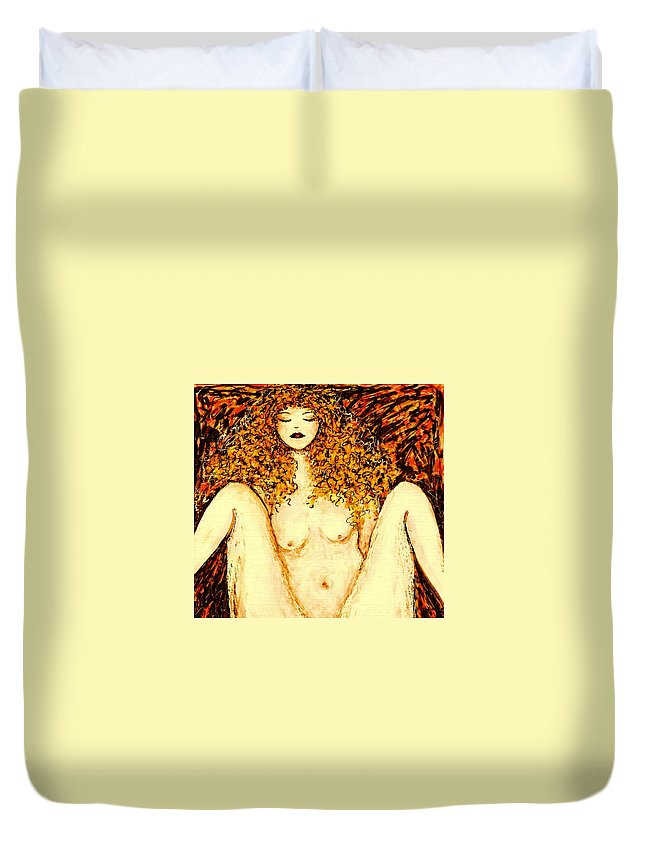 Femme Nue Duvet Cover featuring the painting Afternoon Nap by Natalie Holland