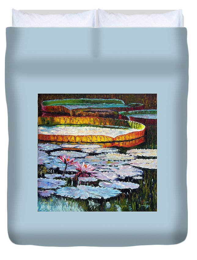 Water Lilies Duvet Cover featuring the painting Afternoon Shadows by John Lautermilch