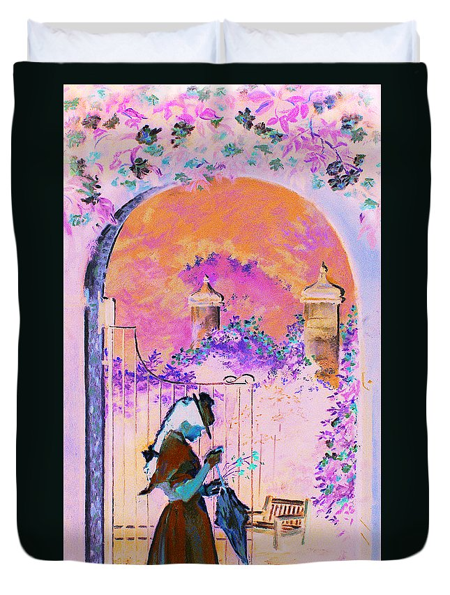 Rose Duvet Cover featuring the painting Afternoon Stroll by Jean Hildebrant