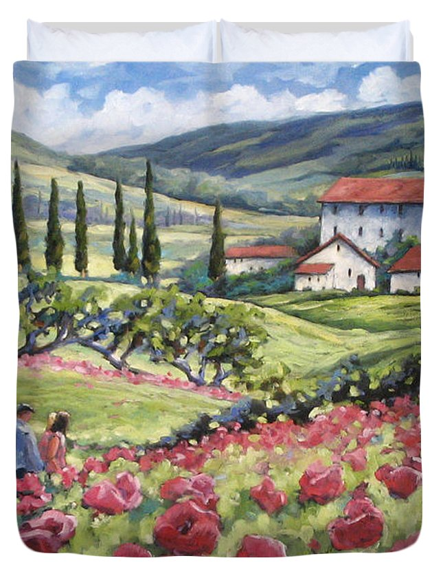 Tuscan Duvet Cover featuring the painting Afternoon Stroll by Richard T Pranke