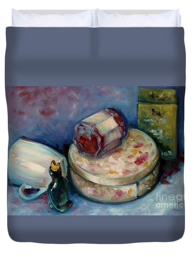 Tea Duvet Cover featuring the painting Afternoon Tea by K M Pawelec