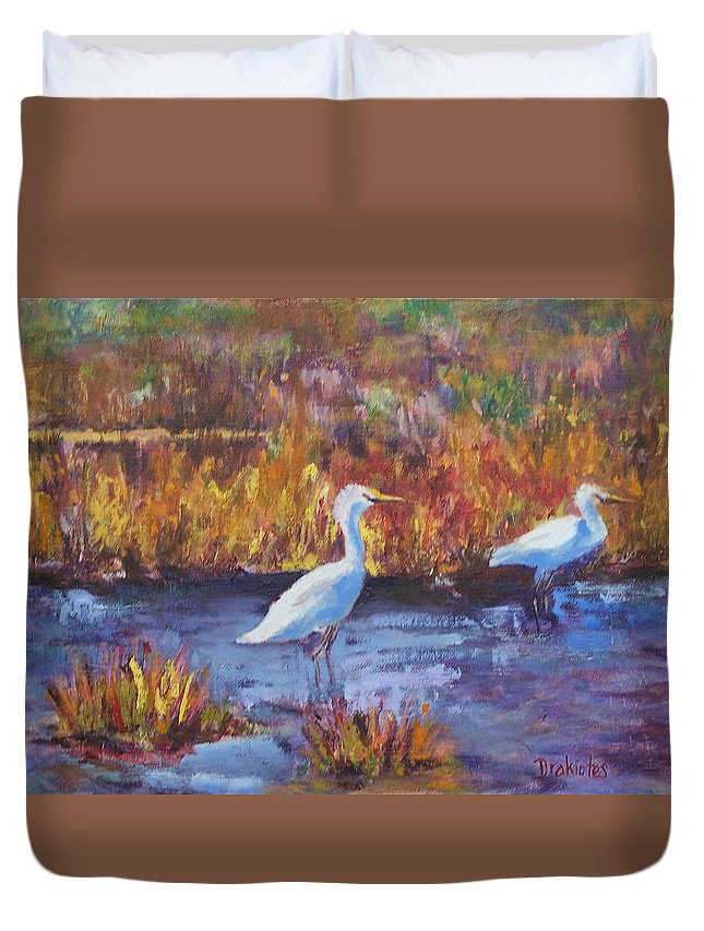 Maine Duvet Cover featuring the painting Afternoon Waders by Alicia Drakiotes