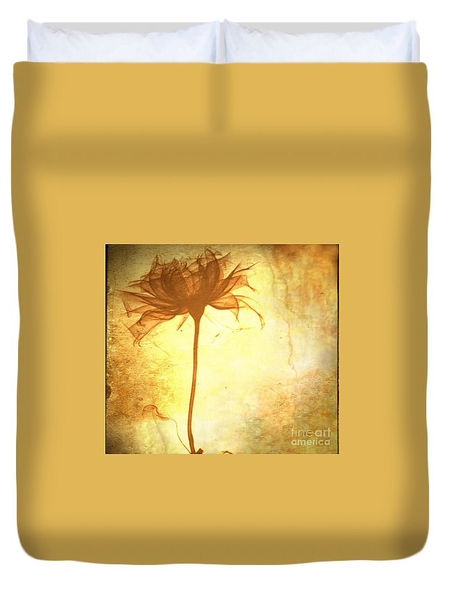 Flower Duvet Cover featuring the painting Against All Odds by Jacky Gerritsen