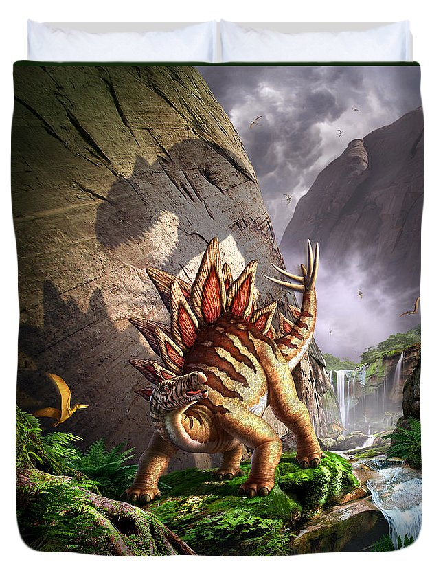 Stegosaurus Duvet Cover featuring the digital art Against The Wall by Jerry LoFaro